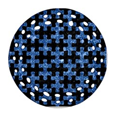 Puzzle1 Black Marble & Blue Marble Round Filigree Ornament (two Sides)