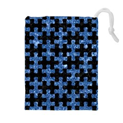 Puzzle1 Black Marble & Blue Marble Drawstring Pouch (xl)