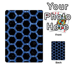 Hexagon2 Black Marble & Blue Marble (r) Multi Purpose Cards (rectangle)