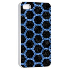 Hexagon2 Black Marble & Blue Marble (r) Apple Iphone 4/4s Seamless Case (white)