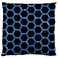 Hexagon2 Black Marble & Blue Marble (r) Large Flano Cushion Case (two Sides) by trendistuff