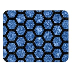 Hexagon2 Black Marble & Blue Marble Double Sided Flano Blanket (large) by trendistuff