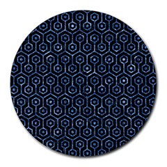 Hexagon1 Black Marble & Blue Marble (r) Round Mousepad by trendistuff