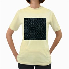 Hexagon1 Black Marble & Blue Marble (r) Women s Yellow T Shirt by trendistuff