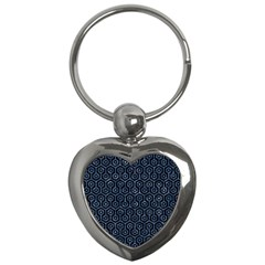Hexagon1 Black Marble & Blue Marble (r) Key Chain (heart) by trendistuff