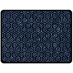 Hexagon1 Black Marble & Blue Marble (r) Double Sided Fleece Blanket (large) by trendistuff