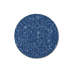 Hexagon1 Black Marble & Blue Marble Magnet 3  (round) by trendistuff