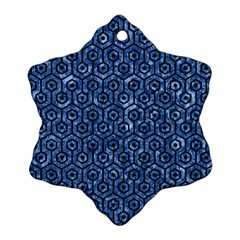 Hexagon1 Black Marble & Blue Marble Snowflake Ornament (two Sides)