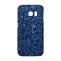 Hexagon1 Black Marble & Blue Marble Samsung Galaxy S6 Edge Hardshell Case by trendistuff