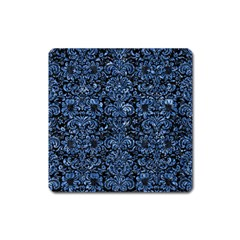 Damask2 Black Marble & Blue Marble (r) Magnet (square) by trendistuff
