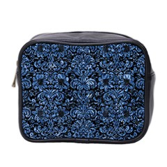 Damask2 Black Marble & Blue Marble (r) Mini Toiletries Bag (two Sides) by trendistuff