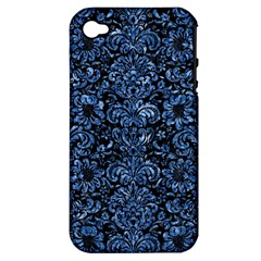 Damask2 Black Marble & Blue Marble (r) Apple Iphone 4/4s Hardshell Case (pc+silicone) by trendistuff
