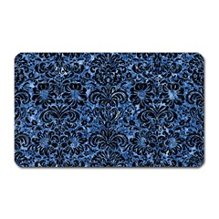Damask2 Black Marble & Blue Marble Magnet (rectangular) by trendistuff