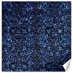 Damask2 Black Marble & Blue Marble Canvas 12  X 12  by trendistuff