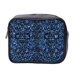 Damask2 Black Marble & Blue Marble Mini Toiletries Bag (two Sides) by trendistuff