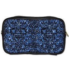 Damask2 Black Marble & Blue Marble Toiletries Bag (two Sides) by trendistuff