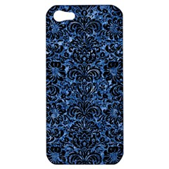 Damask2 Black Marble & Blue Marble Apple Iphone 5 Hardshell Case by trendistuff