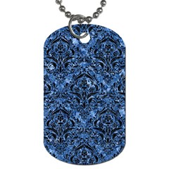 Damask1 Black Marble & Blue Marble (r) Dog Tag (two Sides) by trendistuff