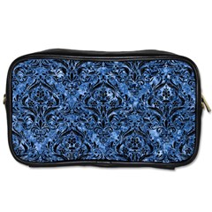 Damask1 Black Marble & Blue Marble (r) Toiletries Bag (two Sides) by trendistuff