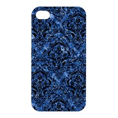 Damask1 Black Marble & Blue Marble (r) Apple Iphone 4/4s Premium Hardshell Case by trendistuff