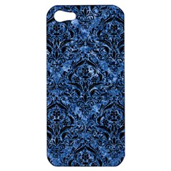 Damask1 Black Marble & Blue Marble (r) Apple Iphone 5 Hardshell Case by trendistuff