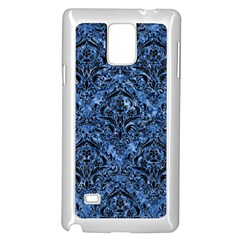 Damask1 Black Marble & Blue Marble (r) Samsung Galaxy Note 4 Case (white) by trendistuff
