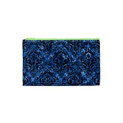Damask1 Black Marble & Blue Marble (r) Cosmetic Bag (xs) by trendistuff