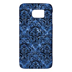 Damask1 Black Marble & Blue Marble (r) Samsung Galaxy S6 Hardshell Case  by trendistuff