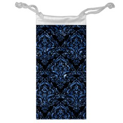 Damask1 Black Marble & Blue Marble Jewelry Bag by trendistuff