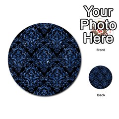 Damask1 Black Marble & Blue Marble Multi Purpose Cards (round) by trendistuff