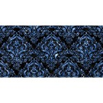 DAMASK1 BLACK MARBLE & BLUE MARBLE Happy New Year 3D Greeting Card (8x4) Front