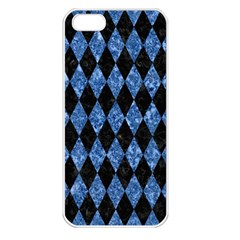Diamond1 Black Marble & Blue Marble Apple Iphone 5 Seamless Case (white) by trendistuff