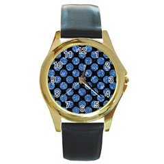 Circles2 Black Marble & Blue Marble (r) Round Gold Metal Watch by trendistuff