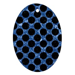 Circles2 Black Marble & Blue Marble Ornament (oval) by trendistuff