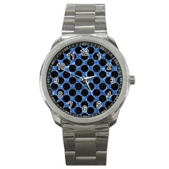 Circles2 Black Marble & Blue Marble Sport Metal Watch by trendistuff