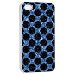 Circles2 Black Marble & Blue Marble Apple Iphone 4/4s Seamless Case (white) by trendistuff