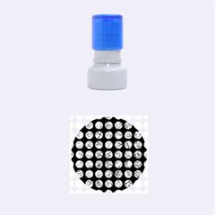Circles1 Black Marble & Blue Marble (r) Rubber Stamp Round (small)