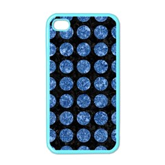 Circles1 Black Marble & Blue Marble (r) Apple Iphone 4 Case (color) by trendistuff