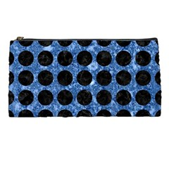 Circles1 Black Marble & Blue Marble Pencil Case by trendistuff