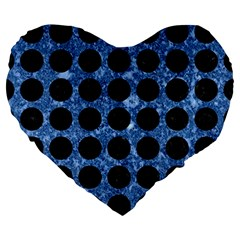 Circles1 Black Marble & Blue Marble Large 19  Premium Heart Shape Cushion by trendistuff