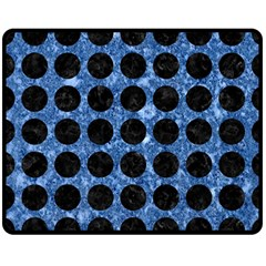 Circles1 Black Marble & Blue Marble Double Sided Fleece Blanket (medium)