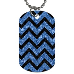 Chevron9 Black Marble & Blue Marble (r) Dog Tag (one Side) by trendistuff