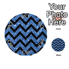 Chevron9 Black Marble & Blue Marble (r) Playing Cards 54 (round)