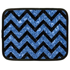Chevron9 Black Marble & Blue Marble (r) Netbook Case (xxl) by trendistuff