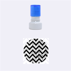 Chevron9 Black Marble & Blue Marble (r) Rubber Stamp Round (small)