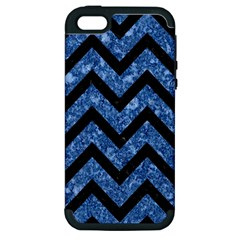 Chevron9 Black Marble & Blue Marble (r) Apple Iphone 5 Hardshell Case (pc+silicone) by trendistuff