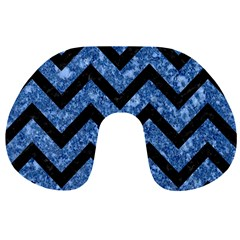 Chevron9 Black Marble & Blue Marble (r) Travel Neck Pillow by trendistuff
