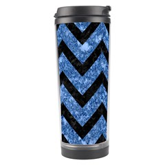 Chevron9 Black Marble & Blue Marble (r) Travel Tumbler by trendistuff