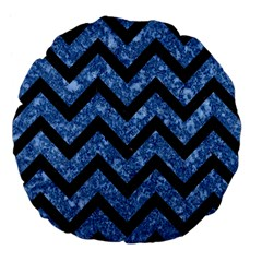 Chevron9 Black Marble & Blue Marble (r) Large 18  Premium Flano Round Cushion  by trendistuff