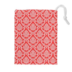 Salmon Damask Drawstring Pouches (extra Large) by SalonOfArtDesigns